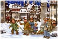 дети играют на заснеженной улице