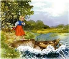 Герда у воды лодка и прибой
