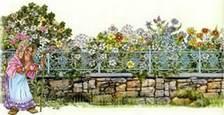 старушка и цветочный сад