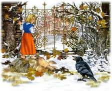 Герда и ворон у ограды дворца