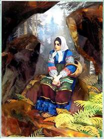 Катя — Данилова невеста с лукошком в лесу