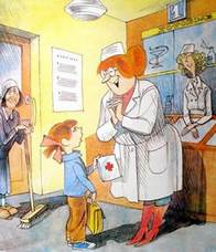 девочка Люся у доктора в аптеке