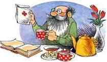 дедушка пьет чай