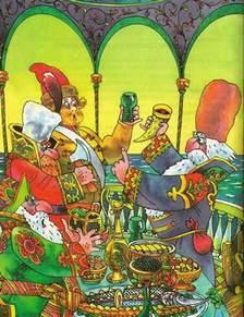 во дворце бояре праздновали