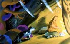 женщина у костра на пещере да волк