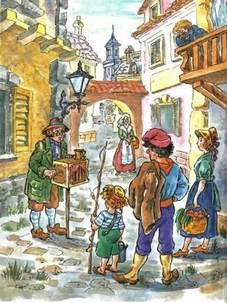 Шарманщик Карло с шарманкой на улице