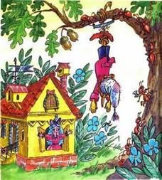 Буратино подвешен за ноги к дереву
