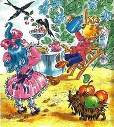 Буратино и Мальвина в саду за столом