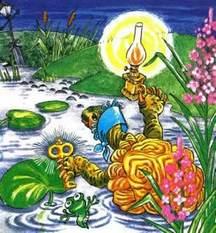 черепаха Тортила в пруду и золотой ключик
