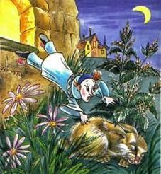 Пьеро выпрыгнул из окна и упал на зайца