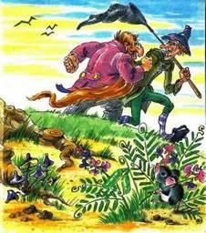 Дуремар и Карабас Барабас проходят мимо пещеры