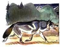 Совсем близко подошёл волк к разыгравшимся зайцам