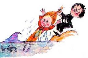 Знайка вытаскивает Незнайку из воды за волосы