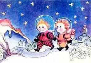 Незнайка и Пончик в скафандрах ходят по поверхности луны