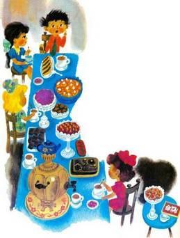 Незнайка и его друзья за праздничным столом