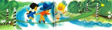 Незнайка и его друзья Синеглазка переходят речку по мостику