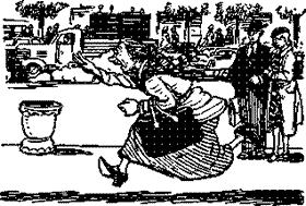старушка догоняет бежит