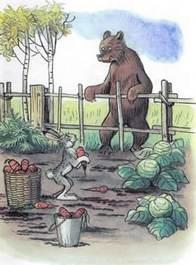 Дядя Миша медведь и заяц в огороде морковь капуста