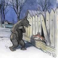 Дядя Миша медведь и лиса в деревне у дыры в заборе