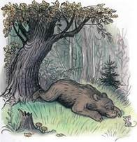 Дядя Миша медведь лежит на траве в лесу рядом мышь