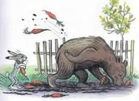 Дядя Миша медведь в огороде рвет морковку заяц косой