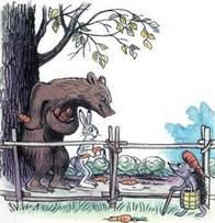Дядя Миша  медведь с морковкой и зайцем встретили ежа