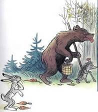 Дядя Миша медведь и еж уходят заяц остался