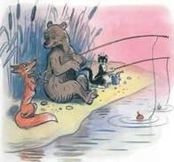 Дядя Миша медведь с котом на рыбалке на берегу озера лиса