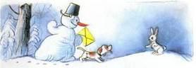 Ёлка письмо деду морозуснеговик и щенок навстречу заяц