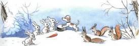 Ёлка щенок и зайцы