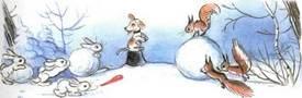 Ёлка  белки и зайцы лепят снеговика