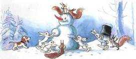 Ёлка лепят снеговика зайцы  белки и щенок
