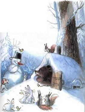 Ёлка снеговик и зайцы пришли к берлоге медведя