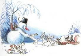 Ёлка  вылепили снеговика зайцы