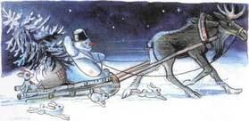 Ёлка снеговик едет с елкой назад на санях