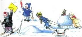 Ёлка детинаулице снег  лепят снеговика