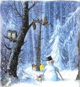 Ёлка снеговик письмо деду морозу щенок идут по лесу