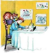 Девочка сидела за столом и рисовала картинки
