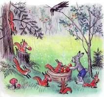 заяц раздает яблоки из мешка белкам