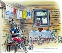 зайчиха с зайчатами дома