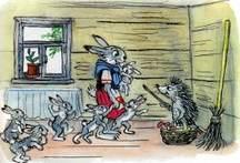 зайчиха и зайчата еж принес лукошко с грибами