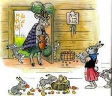 зайчиха и зайчата коза принесла капусту и молоко