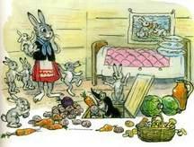 зайчиха и зайчата крот принес овощи петрушка морковка картошка свекла