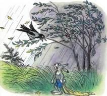 заяц с пустым мешком под дождем