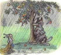 заяц под дождем под яблоней волк