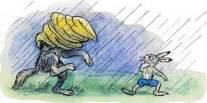 волк с мешком на голове заяц под дождем
