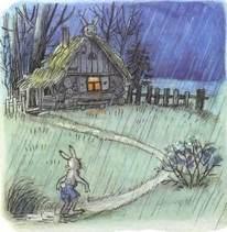 заяц возвращается домой под дождем