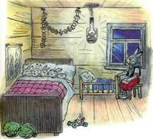 зайчиха и зайчата спят дома в кроватке