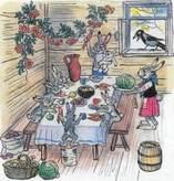зайчата заяц и зайчиха пируют за столом