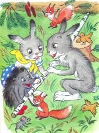 зайцы еж белка мышка с березовой палкой